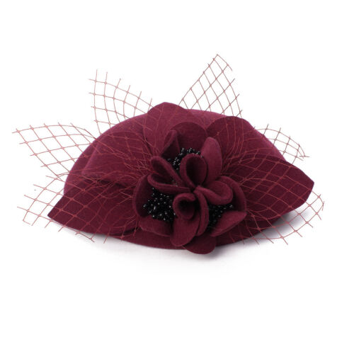 Unique Retro Women Wool Felt Fascinator Pillbox Round Top Wedding Veil Hat T290