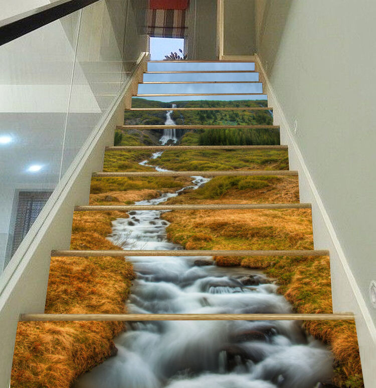 3D Rivulet Lawn Stair Risers Decoration Photo Mural Vinyl Decal Wallpaper CA