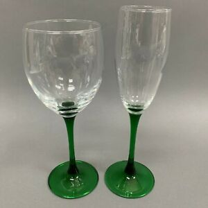 """Set of 4 Luminarc Wine Glasses Emerald Green Stems 6-1//2/"""" Buy More Save More"""