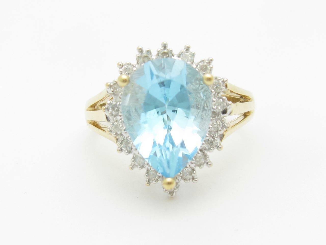 14k Yellow gold & Diamond bluee Topaz Pear Shape Halo Design Large Stone Ring