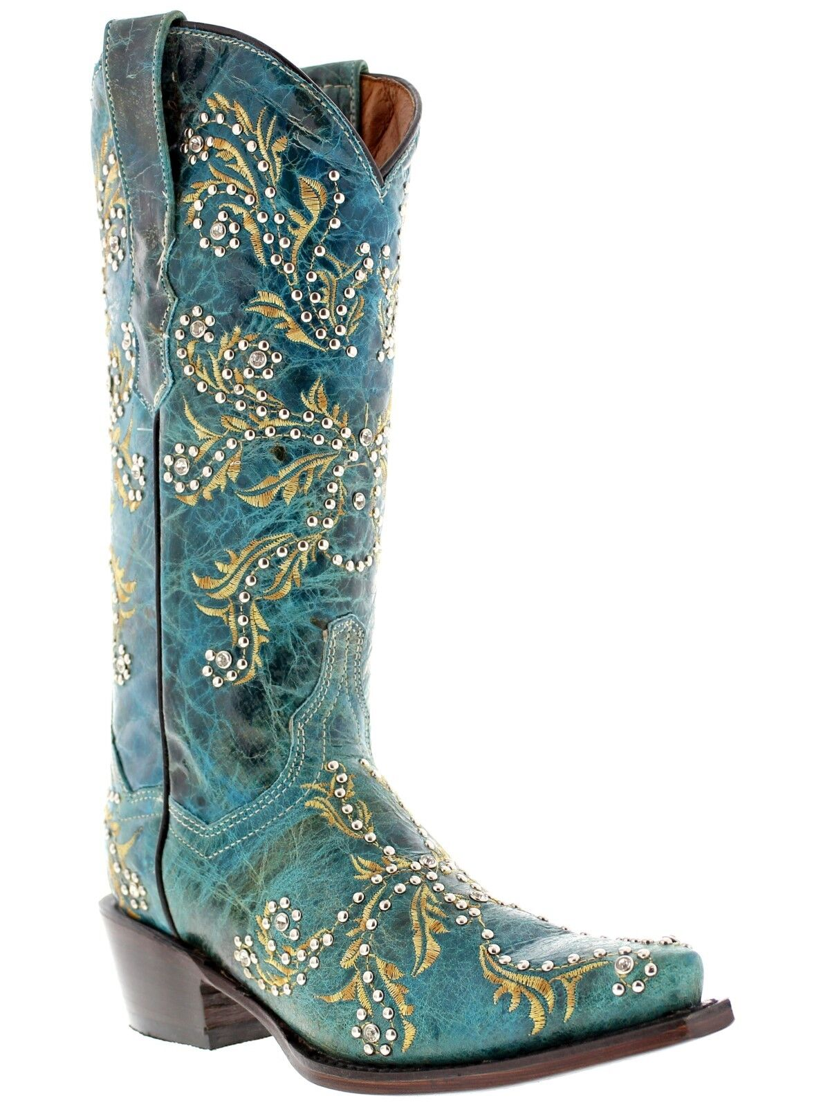 Turquoise Cowboy Boots Real Cowhide Leather Western Distress Leather Studs Snip