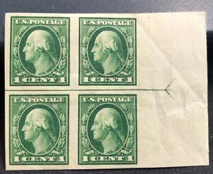 us-stamps-Scott-408-MH-OG-Horizontal-Margin-Line-Block-4-Lot-J-4
