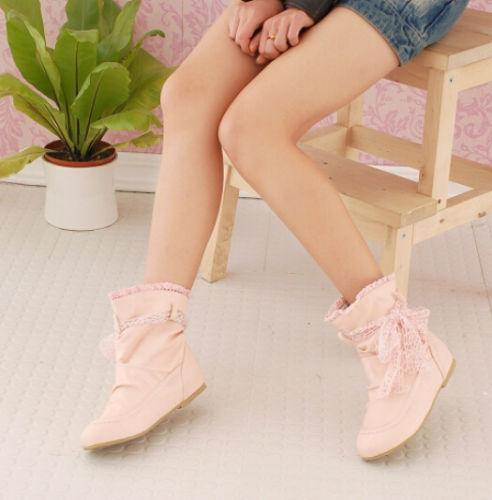 New Womens Ladies Sweet Flat Heel Ankle Boots Lace Shoes Casual Footwear