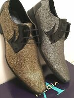 Mens Dress Shoes Gold & Silver Speckled Oxford Tuxedo Wedding Prom Shoes