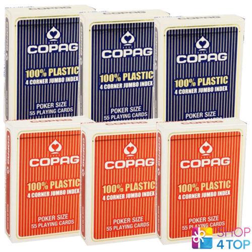 6 ponti Copag 4 Corner indice Jumbo Blu e Rosso 100% Plastica Poker Carte Nuovo