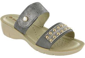 Inblu Wedge Sandals Slip On Open Toe Jewelled Cushioned Summer Beach Womens