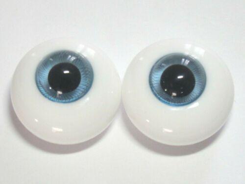 yeux vert d/'eau 22mm en verre ronds poupée ancienne//moderne//Reborn-dos plat