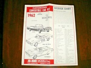 JO-HAN-034-1962-Dodge-Dart-Convertible-034-3-n-1-Original-Model-Car-Instruction-sheet