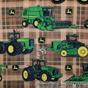 Boneful Fabric Fq Cotton Brown Green Plaid Farm Tractor Combine John