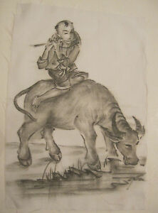 vintage-original-figural-boy-W-bull-Japanese-signed-ink-drawing-on-white-silk