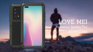 LOVE MEI Wasserfest Gorilla Glas Metall Schutz Case f Huawei P30 Mate 40 P40 Pro