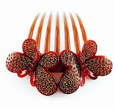 QUALITY ACRYLIC Hair Comb use Swarovski Crystal Hairpin Butterfly Twist Brown