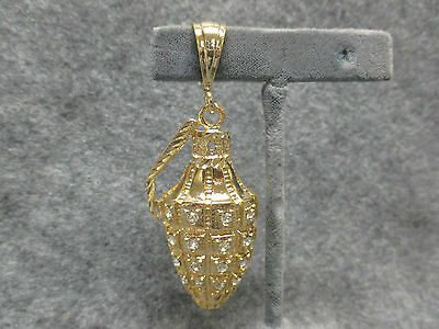 "NEW Grenade Hip Hop Rapper Bling Pendant Gold Tone w// Rhinestones 3.25/"" Long"