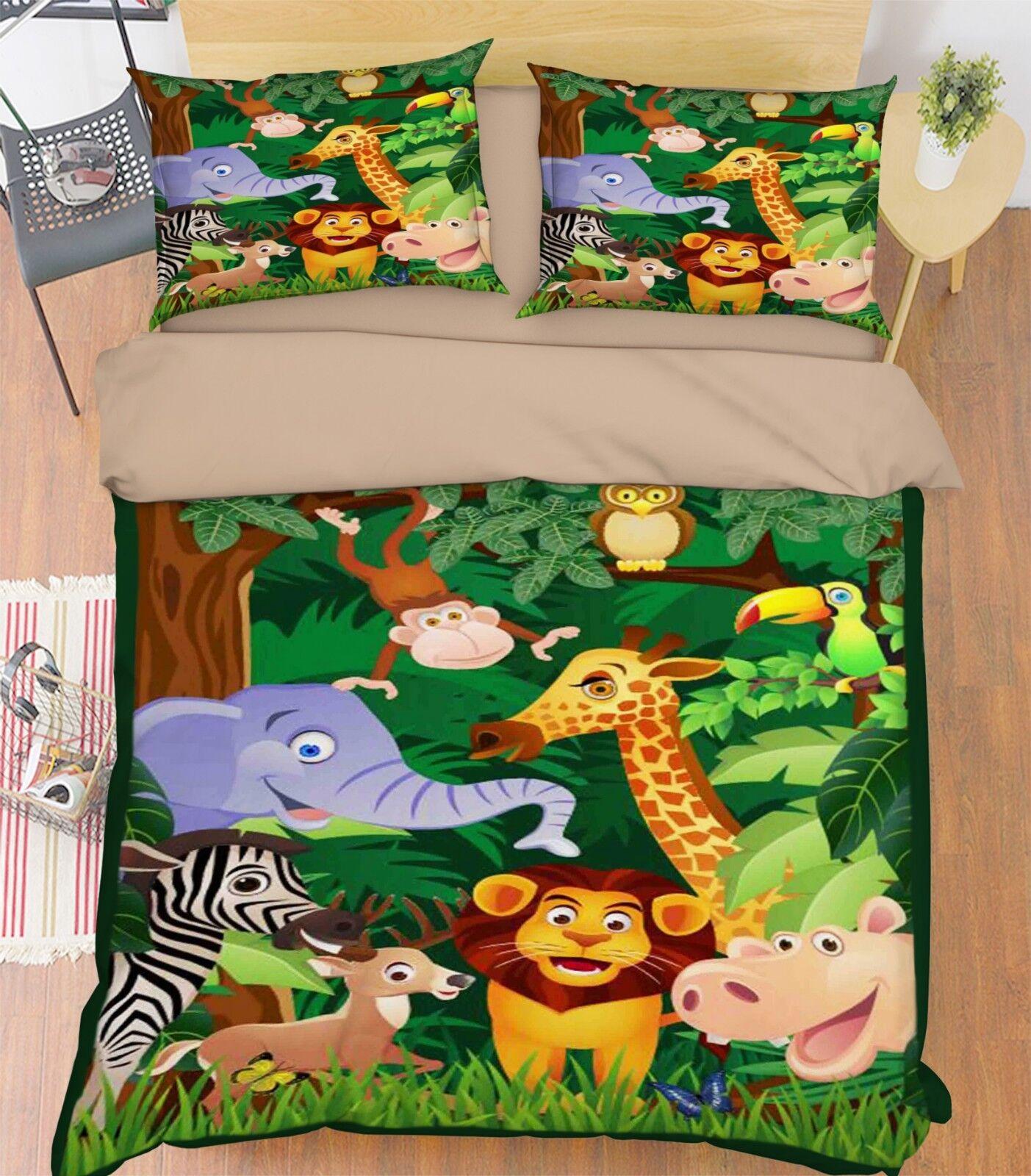 3D Woods Animals 788 Bed Pillowcases Quilt Duvet Cover Set Single King UK Summer