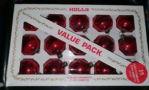 Vintage-1960-70-s-039-Holly-039-Red-Glass-Baubles-Christmas-Decorations-Made-in-USA
