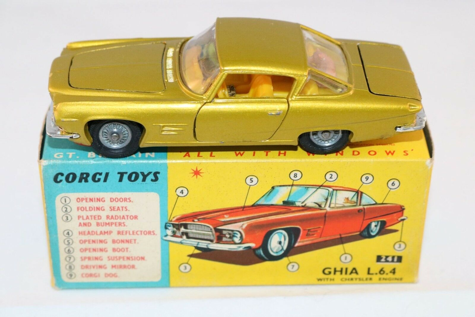 Corgi Toys 241 Ghia Ghia L.6.4. Lime gold issue with good suspension 99% mint in box