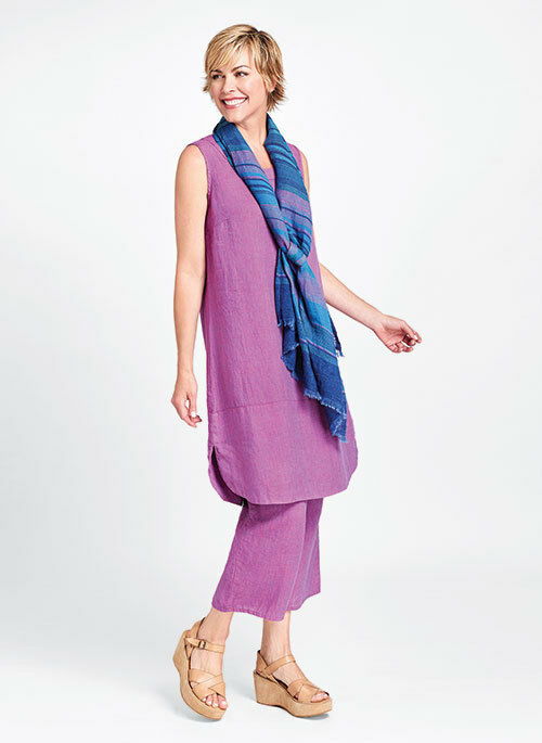 FLAX Designs   LINEN  Rosy DRESS   M  &  L  &   2G  &  3G    NWT   purple STRIA