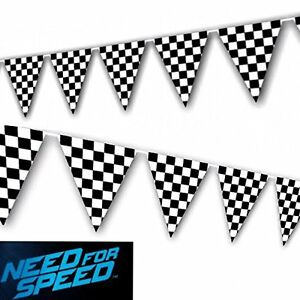 Racing Black and White Checkered Flag Pennant Party Banner Boy's Birthday Decor