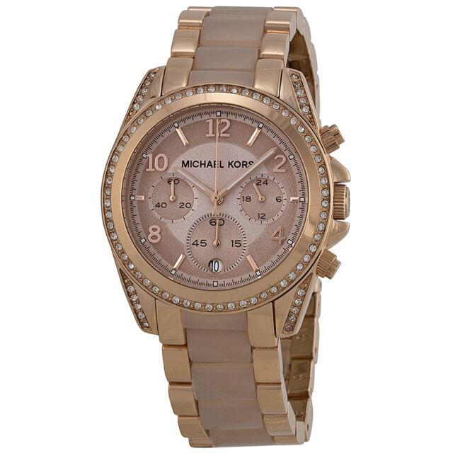 Michael Kors Blair Chronograph Rose Dial Rose Gold-tone Ladies Watch MK5943