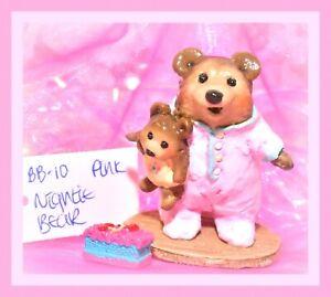 ❤️Wee Forest Folk BB-10 Nightie Bear Baby Pink Pajamas Girl Teddy Retired WFF❤️