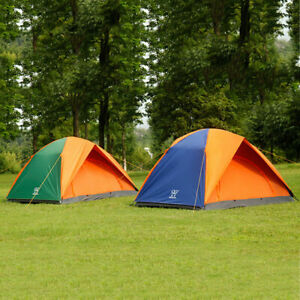 US-Windproof-Waterproof-Double-layer-3-Person-Tent-Camping-Strong-3Season-Orange
