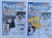 10x Phoenix T-Shirt Transfer Paper - Light and Dark - 10 of each