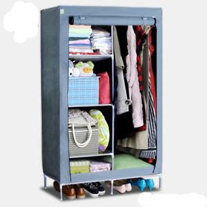 Clothes-Garment-Storage-Portable-Wardrobe-Organizer-Closet-Rack-Silver-Armoires
