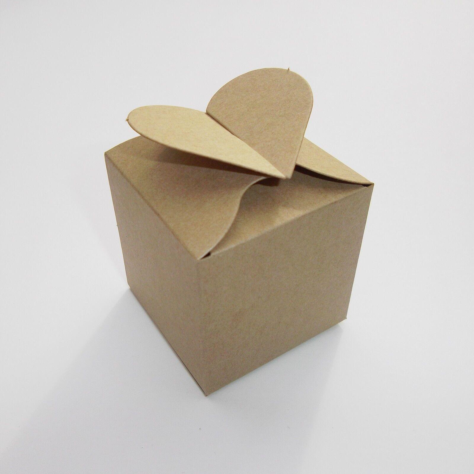 Kraft brun coeur top faveur nuptiale cases-choisir Qté-Bridal Shower