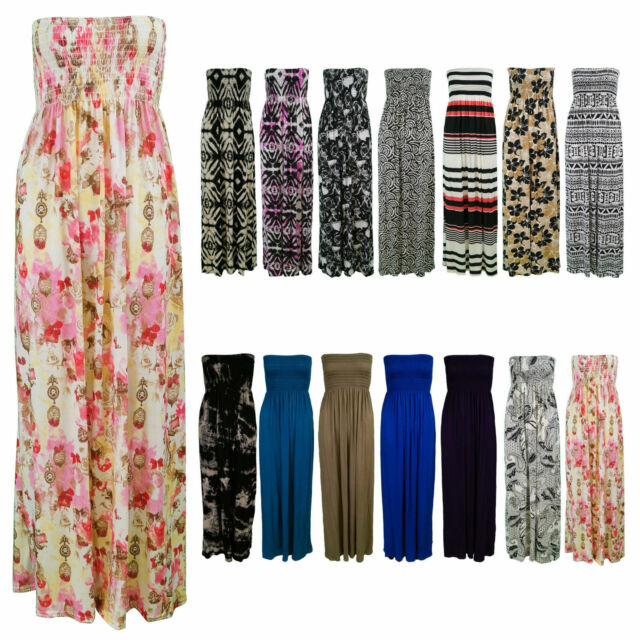 NEW LADIES BOOBTUBE BANDEAU LONG SUMMER STRAPLESS WOMEN'S PRINTED MAXI DRESS