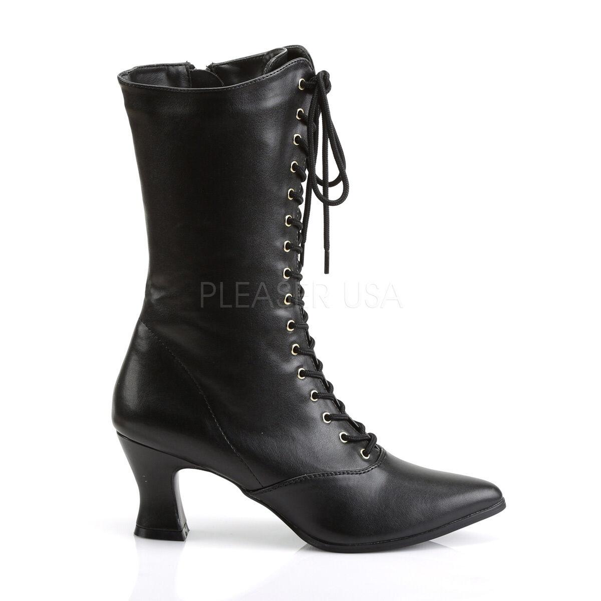 VIC120//B//PU Women/'s Old Fashioned Era Black Victorian Period Costume Calf Boots