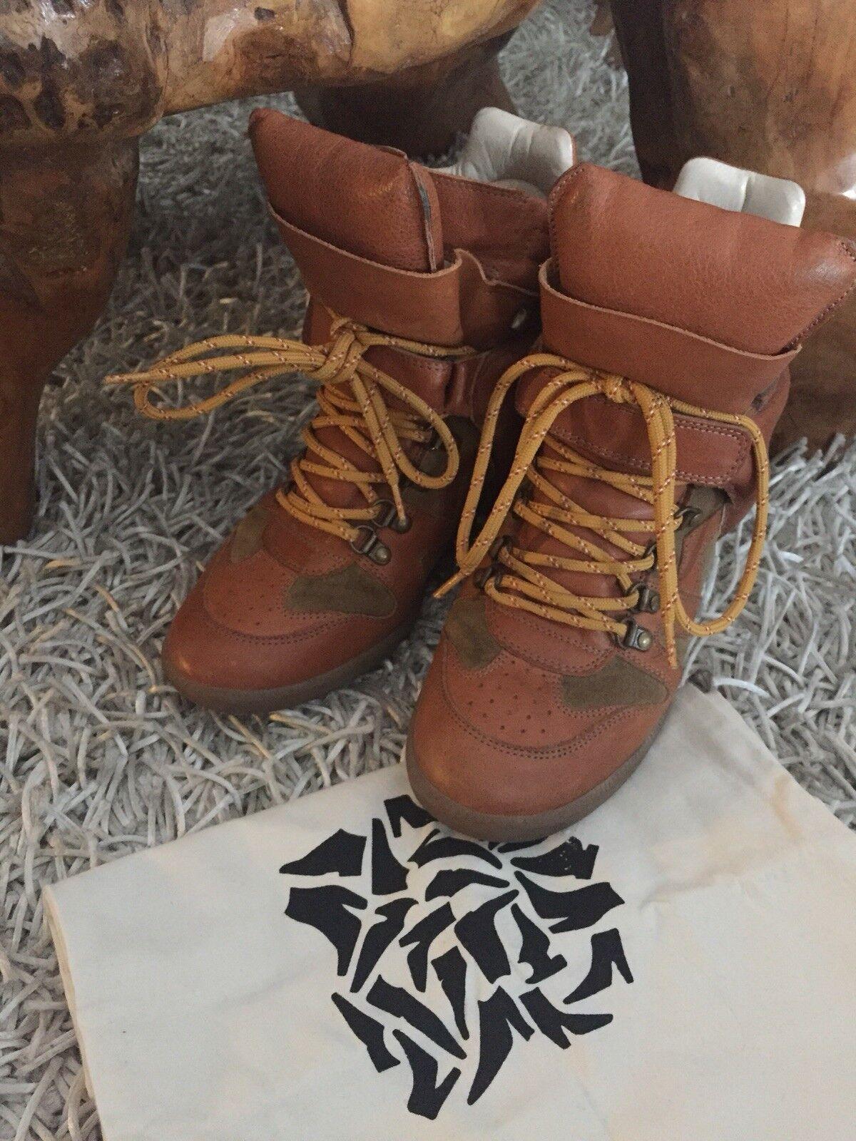 Isabel Marant Bekett Hi Top Sneakers Gr.41 Lamm Leder TOP Cognac/Khaki Limited