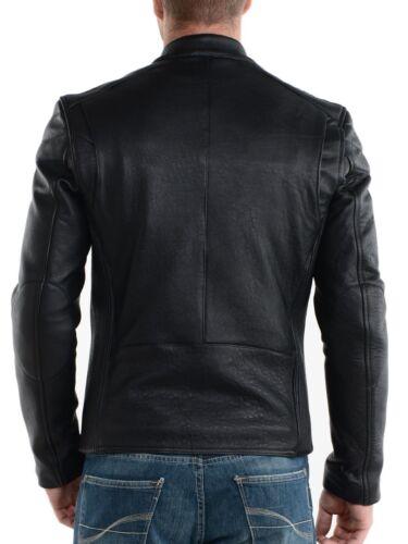 Biker Slim Cowhide Genuine Leather Fit Jacket Men's pOXqw