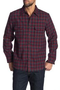 Wallin-amp-Bros-Plaid-Print-Wool-Blend-Shirt-Jacket-Red-Blue-Trigingham-size-Small
