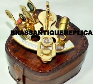 Maritime Brass Marine Sextant With Leather Case. New Fashion Collectible Brass Pocket Sextant