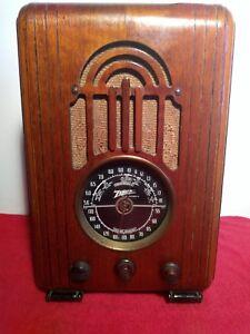 Vintage-Zenith-1938-Model-5-S-228-Tabletop-Tombstone-Wooden-Tube-Radio