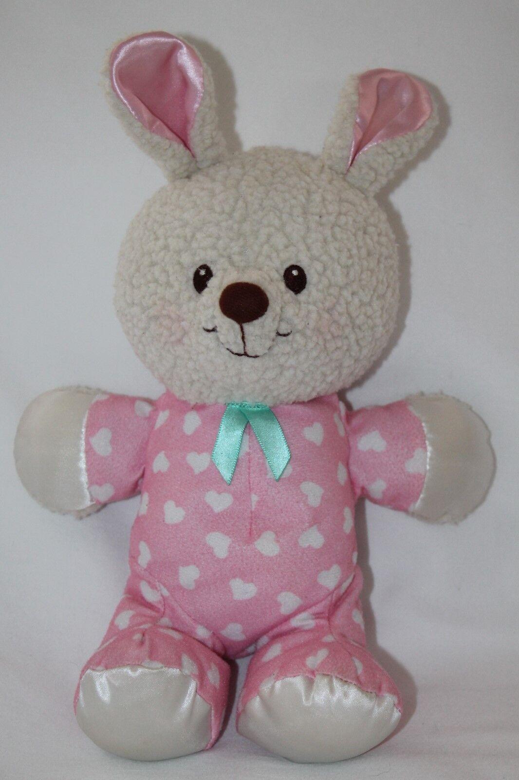 Vintage Fisher Price Pink Bedtime Bunny Rabbit 10  Sherpa Stuffed Plush Satin