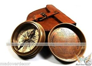 VINTAGE-ROBERT-FROST-BRASS-COPPER-POEM-COMPASS-WITH-LEATHER-CASE-MADOVERDECOR