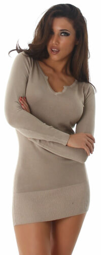 Strickkleid mini /& Pullover lang einfarbig elegant uni Einheitsgröße 34 36 38 40