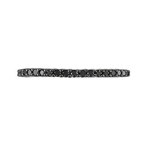 10k White Gold 1//5 CT Black Diamond TW Anniversary Ring