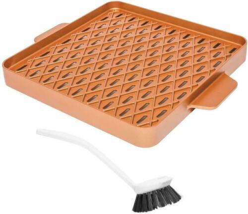 """Copper Chef Copper Barbecue Pan Griddle 12/"""" Square X Design Non Stick Pan"""