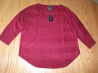 Womens Design History Maroon Chianti Sweater Shirt 3/4 Sleeve L Large $88