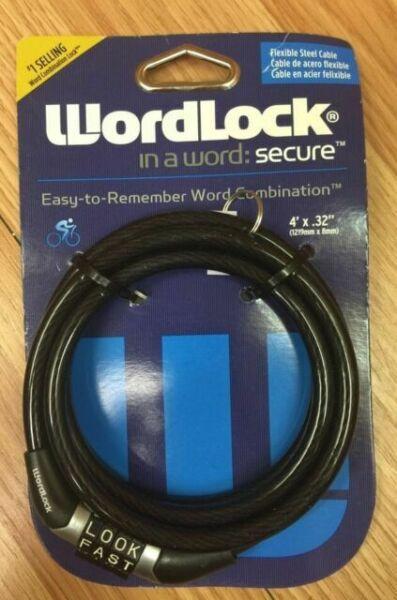 Wordlock Word Combination Flexible Steel Cable bike lock 4 ft x .32 in Purple