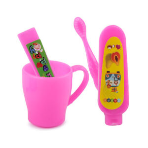 Doll Accessories Sets Toothbrush Tooth Cup Toothpaste for Barbie DollhouseLH