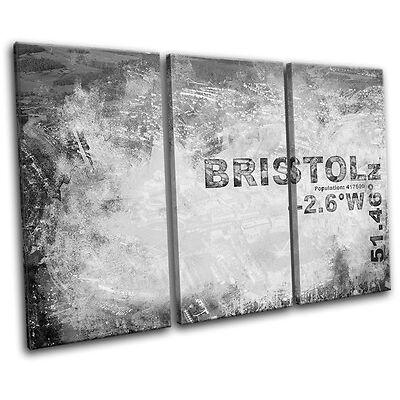 Bristol England City Typography TREBLE CANVAS WALL ART Picture Print VA