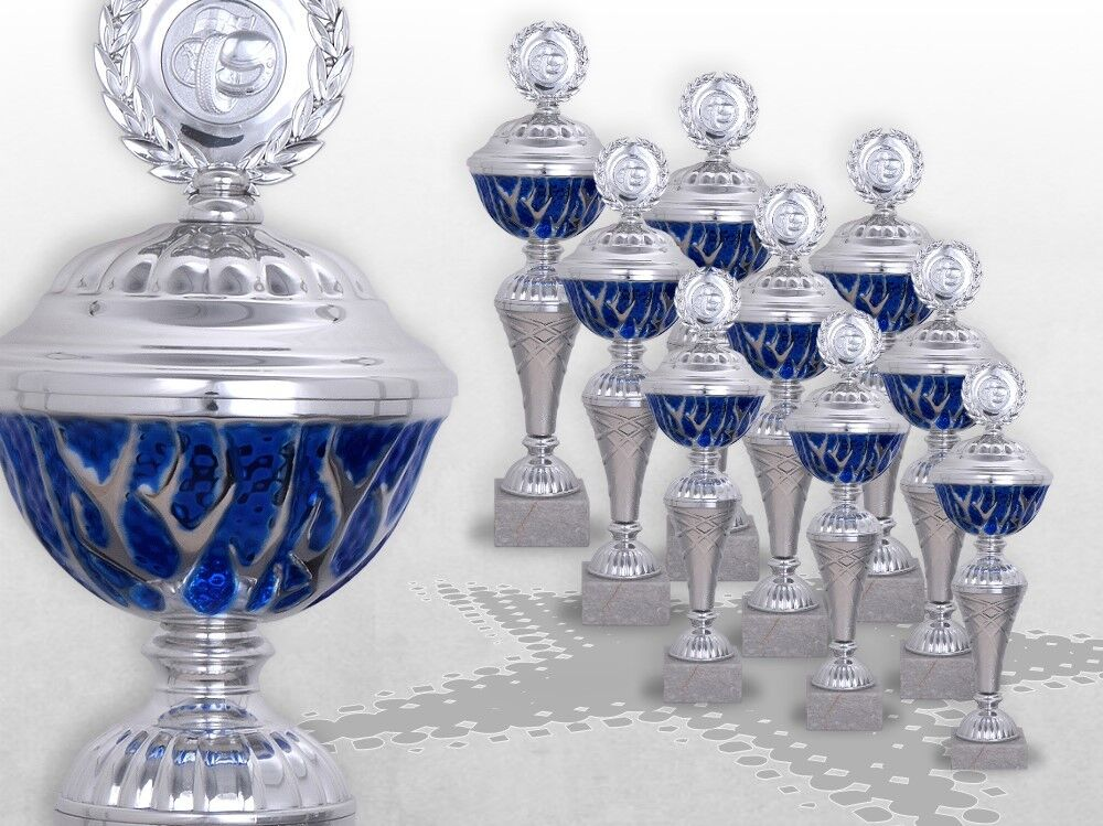 9er Pokalserie Pokale Blau STARLIGHT mit Gravur günstige Pokale silber / blau