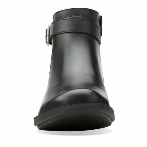 CLARKS WHISTLE SHRUB WOMEN/'S ANKLE BOOTS BLACK SMOOTH LEATHER  # 26104457