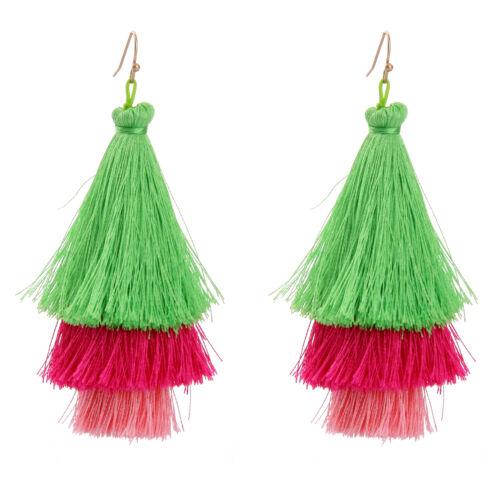 Green Bohemian Tassel Boucles d/'oreilles ethnique MARQUE suspendus Pendants d/'oreilles ed00625b-3