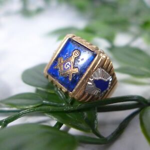 Details about Vintage Men's FREEMASON Masonic Blue Sapphire 10k Gold Signed  Ring Size 9 25