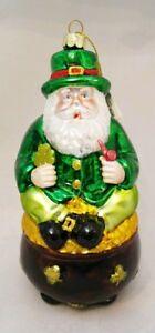Irish-Santa-Glass-Ornament-Pot-Gold-Green-Lucky-Clover-6-034-Kurt-Adler
