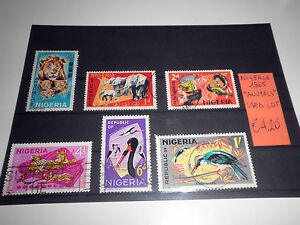 FRANCOBOLLI-NIGERIA-1965-034-ANIMALI-FAUNA-NATURA-ANIMALS-034-TIMBRATI-USED-LOT-CAT-X